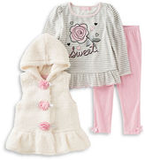 Kids Headquarters Baby Girls Three-Piece Sweet Top, Jacket and Leggings Set