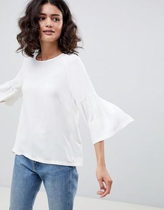 Just Female Garner Fluted Sleeve Blouse-White