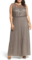 Adrianna Papell Beaded Mesh Blouson Gown (Plus Size)
