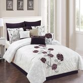 Abigail 10-Piece Comforter Set in Plum/Grey