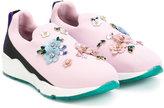 Dolce & Gabbana slip-on sneakers - kids - Leather/Nylon/rubber/glass - 29