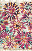 Loloi Rugs Aria Hand-Woven Cotton Tasseled Floral Rug