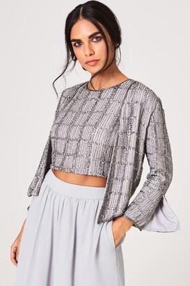 Girls On Film Little Mistress Luxury Mandy Grey Hand-Embellished Sequin Check Jacket