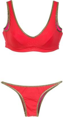 AMIR SLAMA gold-tone trimming bikini set
