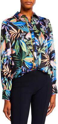 Milly Juliette Tropical Palm Print Button Down Top