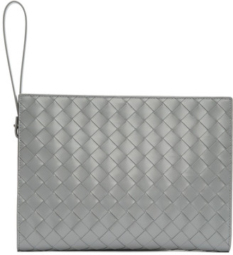 Bottega Veneta Grey Intrecciato Small Document Holder