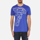 Versace Collection Half Medusa Head Metalic Embossed Tshirt - Blue