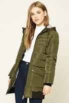 Forever 21 FOREVER 21+ Longline Hooded Puffer Jacket