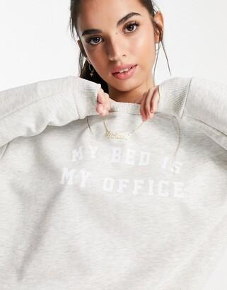 Outrageous Fortune loungewear motif slogan sweat top in grey