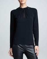 Ralph Lauren Black Label Leather-Collared Silk Top, Black