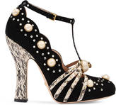 Gucci Studded suede pump
