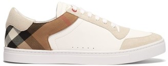 Burberry Reeth Checked-panel Leather Trainers - Mens - White