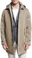 Loro Piana Hooded Single-Breasted Raincoat, Antelope