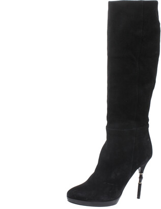 Gucci Black Suede & Bamboo Bit Heel Knee High Boots Size 37.5