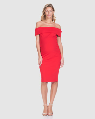 Soon Women's Red Off the Shoulder Dresses - Claire Off-Shoulder Dress - Size One Size, L at The Iconic