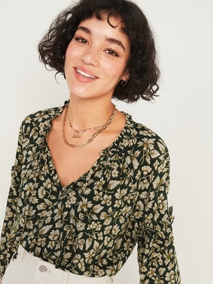 Old Navy Ruffled Tie-Neck Floral-Print Poet Blouse for Women