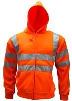 WWK / WorkWear King Mens Zip Hi Viz Hoody Mens Work Sweatshirt