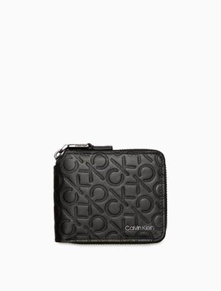 Calvin Klein Embossed Monogram Logo Compact Zip Wallet
