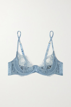 Coco de Mer Lucida Satin-trimmed Stretch-lace Underwired Soft-cup Plunge Bra - Light blue