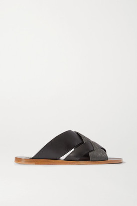 Brunello Cucinelli Bead-embellished Leather Sandals - Black