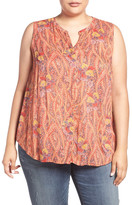 Lucky Brand Feather Paisley Print Sleeveless Top (Plus Size)