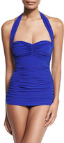 Norma Kamali Bill Mio Halter One-Piece Swimsuit, Cobalt