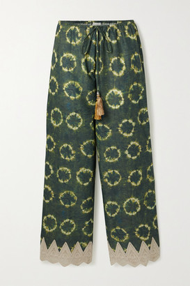 Miguelina Fifi Crochet-trimmed Printed Cotton-voile Pants - Dark green