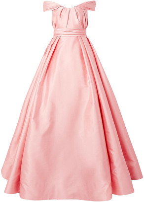 Reem Acra Off-the-shoulder Pleated Satin Gown
