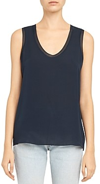 Theory Ribbed Trim Silk Scoop Tank Top
