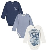 Hust&Claire Pack of 3 Blue Babygrows