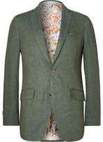 Etro Grey-Green Linen Blazer