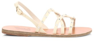 Ancient Greek Sandals Schinousa Rivets Leather Slingback Sandals