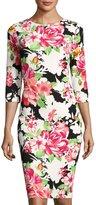 Jax 3/4-Sleeve Floral-Print Sheath Dress, Black Pattern