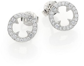 Adriana Orsini Heart Soul Pave Sterling Silver Clover Disc Stud Earrings