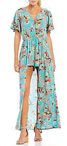 Angie Floral Printed Surplice Maxi Romper