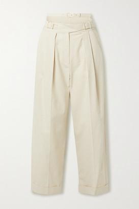 pushBUTTON Pinstriped Pleated Cutout Cotton-blend Tapered Pants - Ecru