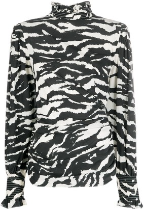 Isabel Marant Zebra-Print High-Neck Blouse