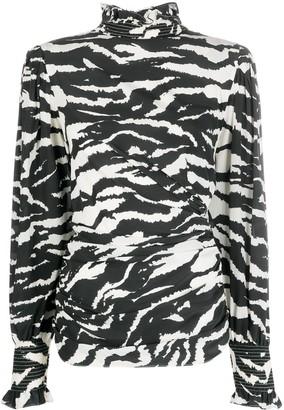 Isabel Marant Zebra-Print Smock-Neck Blouse
