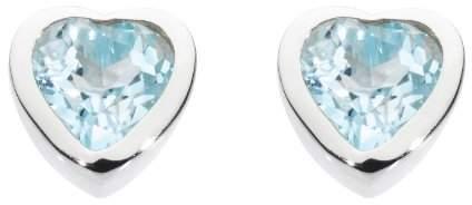 Dew Women's Sterling Silver and Blue Topaz Heart Stud Earrings