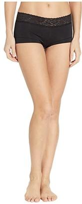 Maidenform Cotton w/ Lace Boyshort (Black) Women's Underwear