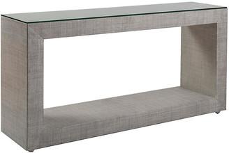 Artistica Precept Raffia Console - Light Gray frame, light gray; glass, clear