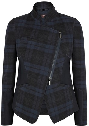 High Oblique navy checked jacket
