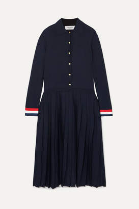 Thom Browne Striped Grosgrain-trimmed Pleated Merino Wool Dress - Navy