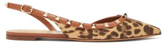 Valentino Rockstud Leopard-print Canvas Slingback Flats - Womens - Tan Multi