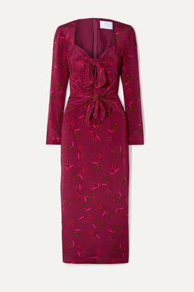 Rebecca De Ravenel Zaza Tie-detailed Printed Silk Crepe De Chine Midi Dress - Burgundy