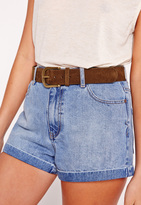 Missguided Classic Gold Buckle Belt Tan