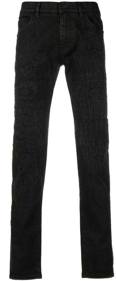 Dolce & Gabbana scratch distressed jeans with leopard patches