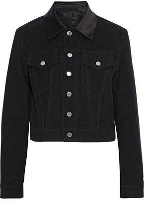 Helmut Lang Masc Trucker Cropped Satin-trimmed Cotton-felt Jacket