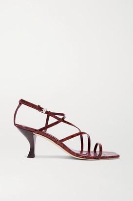 STAUD Gita Croc-effect Leather Sandals - Burgundy