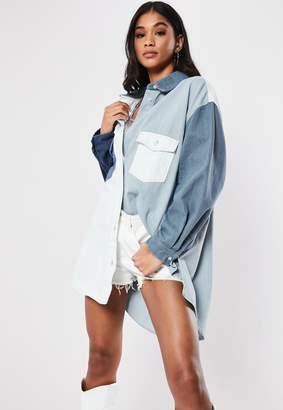 Missguided Blue Patchwork Oversized Denim Shirt